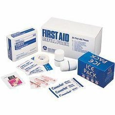 Physicians Care 94-piece First Aid Refill Kit by Physicians Care. $29.25. Includes: cold pack, adhesive bandages, antiseptic wipes, ice pack, sterile bandages, nonstick pads, sting relief pads, burn ointment, alcohol, fingertip and knuckle bandages, pads, tape and gauze
