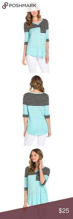 Striped 3/4 length Blouse Striped 3/4 sleeve length pocket shirt. 96% rayon/4% cotton. Super comfy! Tops Blouses