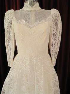 1960s wedding gowns | 1960s Edwardian style ivory lace vintage wedding gown.