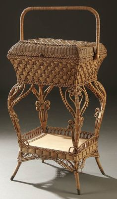 A VICTORIAN WICKER SEWING BASKET circa 1900; with