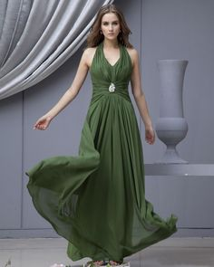 V-Neck Chiffon Floor Length Bridesmaid Dress With Brooch