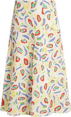 DURO OLOWU Abstract bird-print cloqué midi skirt