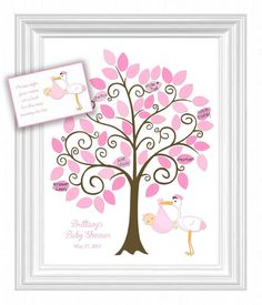 This Baby Shower Signature Guest Book Tree is a great alternative to traditional guestbooks. A beautiful keepsake to remember those who celebrated in your special day. It can be made for a Girl or Boy or Twins.  This listing is for an 11x14 Semi Gloss Poster with 50 leaves for signing. A thin black Sharpie pen (not included) is highly recommended for signing. Do not use regular pens. A 4 x 6 instruction card is included with your order.  **POSTER DOES NOT COME FRAMED.   TO PLACE YOUR ORDER…