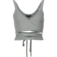 Alexander Wang tied crop top ($325) ❤ liked on Polyvore featuring tops, alexander wang, blusas, crop top, grey, gray top, gray crop top, grey sleeveless top and v-neck tops