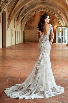 eddy k couture 2017 bridal long sleeves off the shoulder deep plunging v neck full embellishment gorgeous elegant lace fit and flare wedding dress v back chapel train (ct180) bv