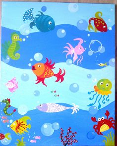 Under the calm surface of the ocean, there is a wonderful, colorful, happy life inside - deep under the sea!! I find this life amazing and the colors are just unbelievable!!! ...a perfect subject for painting a child's painting and a good excuse to add color to a child's room!!    Enjoy the colorful fishies swimming happily in the ocean, and the cute and funny octopus and the delighted crab and the elegant little sea horse!!