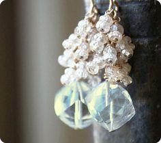 gemstone earrings wedding bridal jewelry beaded by ElisabethSpace, $58.00