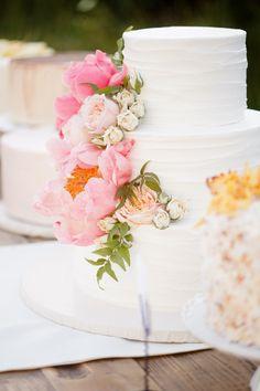 Wedding Cake with Fresh Flowers | #Peony |   Photography: Ashlee Raubach | Wedding on SMP:  http://www.stylemepretty.com/2013/04/29/newport-beach-wedding-from-ashlee-raubach/