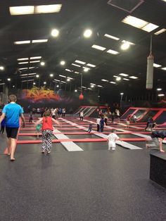 Jump around on over 10,000 square feet of connected, world-class trampolines. The trampoline field features famous angled wall trampolines, launching decks and a few surprises up in the ceiling to test your vertical. Amazing times!