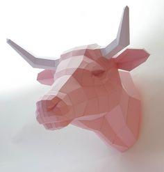 animales papel 3D toro