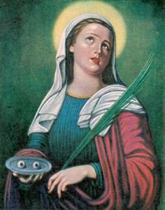 December 13th Saint Lucy Relying on Your goodness, O God, we humbly ask you, by the intercession of your servant, Saint Lucy, to give perfect vision to our eyes, that we may serve for your greater honor and glory. And we pray for the salvation of our souls in this world, that we may come to the enjoyment of the unfailing light of the Lamb of God in heaven. St. Lucy, virgin and martyr, hear our prayers and answer our petitions. Amen.
