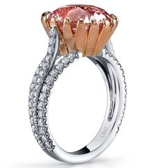 Omi Prive padparadscha ring - 8.18 carat, oval cut sapphire.