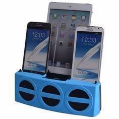 DOK CR33BL 5 Port Smart Phone Charger with Bluetooth Speaker and Speaker Phone  Blue Face -- Want to know more, click on the affiliate link Amazon.com.