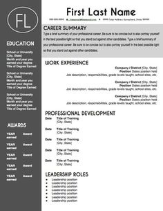 teacher resume template sleek gray and white