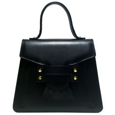 Top Handle Fringed Clasp Handbag Black. Calf LeatherLeather ... 7f374b826b4