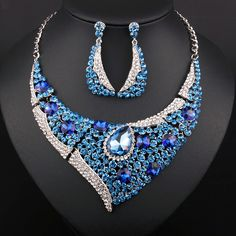 Promotion Fashion KC Gold plated Crystal Rhinestones Necklace and Earrings  set African Beads Jewelry sets b81de655befa