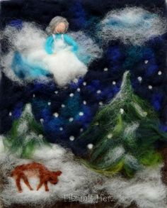 "Winter - wool pictures from ""felt with heart"" felt heart felt pictures from fairy tale wool . Felt Pictures, Winter Pictures, Kindergarten Art Projects, Cute Paintings, Felt Applique, Felt Hearts, Winter Theme, Felt Ornaments, Felt Animals"
