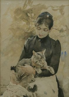 """""""Seated Woman with Cat"""" Bruno Liljefors"""