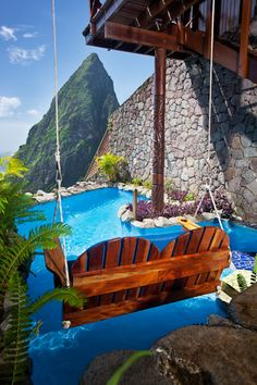 Swinging above your own pool at Ladera, St. Lucia Resort