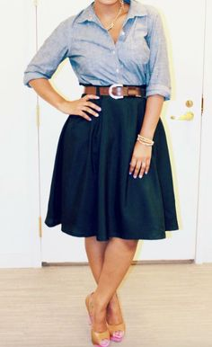 Chambray    Not a huge fan of the belt/shoes, buy like the shirt skirt!