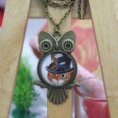 Cat Art  Antique Bronze Glass Pendant Necklace Owl by AfifShop