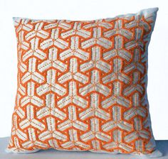 Ivory Silk Throw Pillow Cover Orange Bead Geometric by AmoreBeaute
