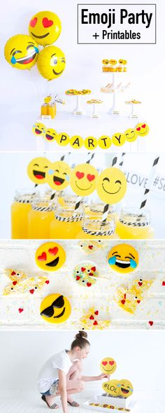 Emoji Party - a great birthday theme idea for tweens and teens. Lots of clever DIY decorating ideas here plus printables!