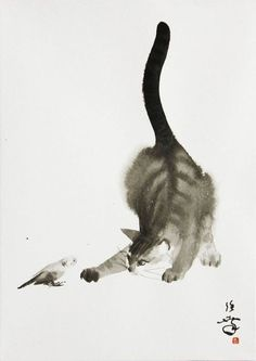Toshiyuki Enoki, Cat Playing, Watercolor ✨✨Visit our art'shop here . Shipping free and quick-✨✨ art drawing art abstract art projects for kids animal art art ideas art painting art black and white Animals Watercolor, Watercolor Cat, Japanese Watercolor, Japanese Painting, Chinese Painting, Ink Painting, Watercolor Paintings, Cat Paintings, Watercolors