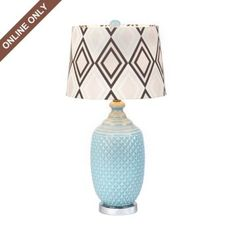 Diamond Ceramic Table Lamp.  25.5H in