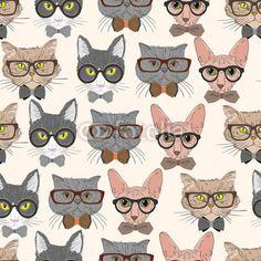 Koty bezszwowe tło wzór hipster