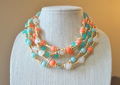 Statement necklace and earrings set Bib by Valentinaccesories, $28.00