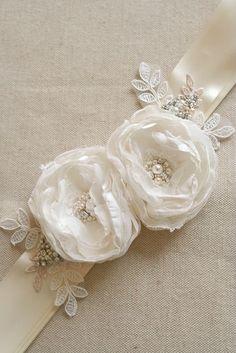 Ivory Bridal Flower Sash Wedding Sash Ivory Beaded Lace Ribbon sash by BelleBlooms #wedding #bridal #sash