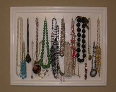 Necklace Organizer ---mine are all shoved in my jewelry box, i need to make one of these! Jewellery Storage, Jewellery Display, Necklace Storage, Painting Corkboard, Painted Bookshelves, Home Crafts, Diy Crafts, Hanging Necklaces, Hanging Jewelry