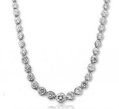 11.30 Carat Diamond 14k White Gold Graduated Tennis Necklace