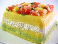 "Causa de Cangrejo a Peruvian ""7 layer"" crab dip with aji, potato, and avocado."