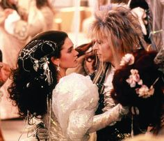 Jennifer Connelly and David Bowie in Labyrinth (Love the hair & dress-hers that is!)