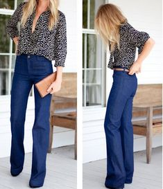 high waisted jean + low cut button blouse