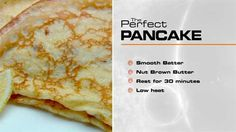 The Perfect… Pancakes with lemon & sugar - Gary Mehigan Master Chef, Breakfast Time, Breakfast Recipes, Perfect Pancake Recipe, Masterchef Recipes, Masterchef Australia, Crepe Recipes, Desert Recipes, Baking Recipes