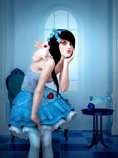 Alice reflected in a magic mirror, artist eye's, Natalie Shau and Fulvio Bisca