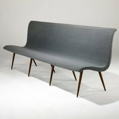 Anonymous; Upholstered Bench, 1950s.