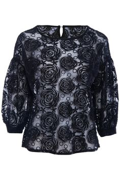 ROMWE | Perspective Black Roses Embroidered Blouse, The Latest Street Fashion #ROMWEROCOCO