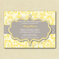 Yellow and Gray Damask Baby Shower Invitation - PRINTABLE INVITATION DESIGN by MommiesInk on Etsy https://www.etsy.com/listing/97503783/yellow-and-gray-damask-baby-shower