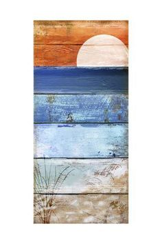 Beach Moonrise Ii by Color Bakery Framed Art Wood Pallet Art, Pallet Painting, Painting On Wood, Painted Pallet Art, Painted Pallets, Watercolor On Wood, Pallet Boards, Painted Wood, Beach Artwork