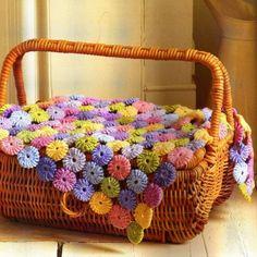 Crochet Puffy Flower Blanket Free Pattern