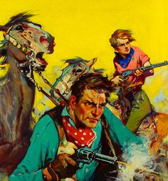 pulp western art | Grapefruit Moon Gallery: Cowgirl Shootout in The Old West