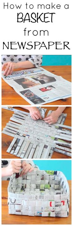 Super Ideas For Diy Paper Crafts Newspaper Basket Weaving Fun Crafts, Diy And Crafts, Crafts For Kids, Arts And Crafts, Newspaper Basket, Newspaper Crafts, Newspaper Flowers, Recycle Newspaper, Fun Activities For Kids