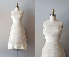 1950s dress / 50s wedding dress / Chrysalis Silk dress