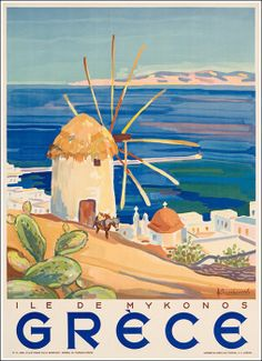 Choose your favorite mykonos paintings from millions of available designs. All mykonos paintings ship within 48 hours and include a money-back guarantee. Poster Art, Retro Poster, Kunst Poster, Poster Prints, Art Prints, Old Posters, Vintage Travel Posters, Vintage Postcards, Beach Posters