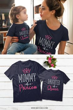 b885da811415c Mommy and Me Queen Princess Mother Daughter Matching mommy of a queen    Daughter of a