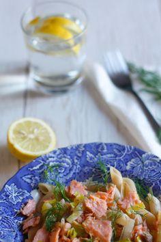 Penne di farro con salmone, finocchio e porri. | Anna The Nice